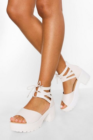 White Lace Up 2 Part Cleated Sandals