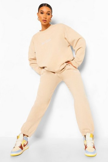 Stone beige Ofcl Studio Embroidered Tracksuit