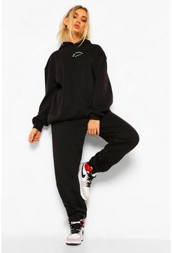 Black Oversized Ath Leisure Print Joggers
