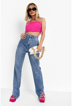 Mid blue blue High Rise Split Hem Straight Leg Jeans