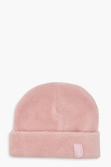 Baby pink pink Offcl Borg Woven Tab Beanie