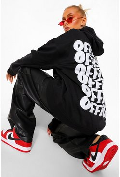 Black Oversize Back Print Official Hoodie