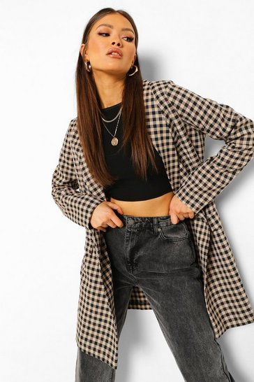 Black Tonal Check Oversized Long Line Blazer