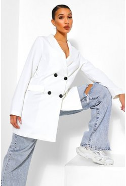 Ivory white Oversized Long Line Double Breasted Blazer