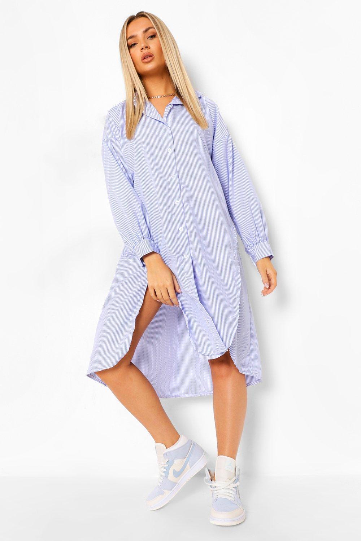 Sale Suits & Tailoring Super Oversized Striped Button Detail Shirt Dress