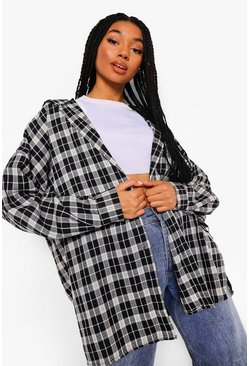 Black Check Oversized Shirt With Hood