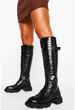 Black Croc Lace Up Buckle Knee High Hiker Boot