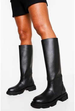 Black Pull Chunky Knee High Boot