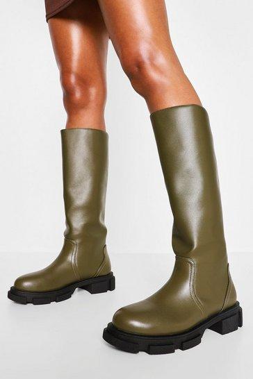 Khaki Pull Chunky Knee High Boot
