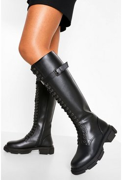 Black Lace Up Buckle Knee High Hiker Boot
