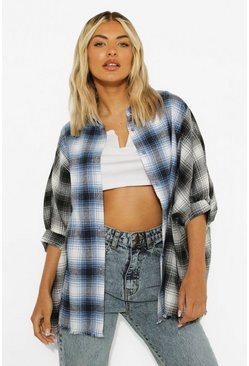 Black Contrast Check Frayed Hem Oversized Shirt