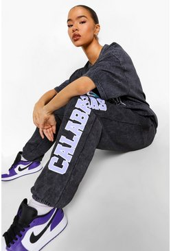 Charcoal Oversized Acid Wash Calabasas Joggers