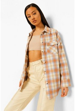 Beige Check Oversized Shirt