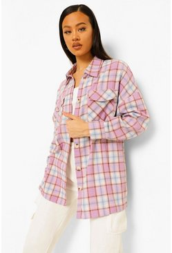 Pink Check Oversized Shirt
