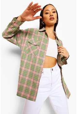 Green Oversized Check Shirt