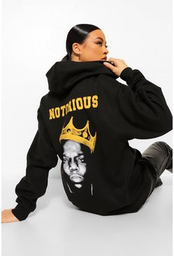 Notorious Big Back Print License Hoodie, Black negro