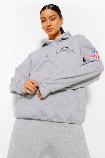Grey marl grey Nasa License Pocket Print Hoodie