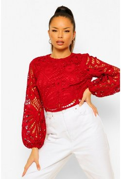 Crop top à manches oversize en dentelle, Berry rouge