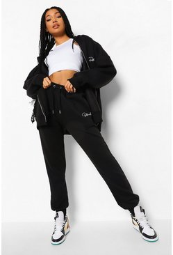 Black Oversized Official Zip Hooded Tracksuit