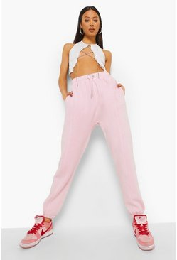 Roze pink Official Acid Wash Gebleekte Joggingbroek Met Naaddetail