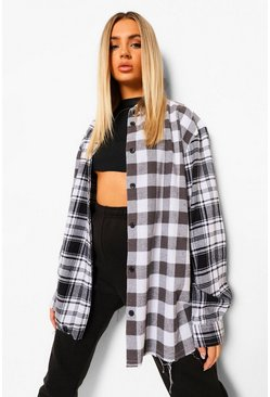 Black Contrast Oversized Check Shirt
