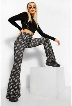 Black Dragon Print Flared Trousers