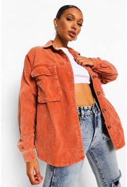 Coral pink Washed Cord Oversized Shirt
