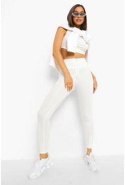 Zip Front Active Leggings, Ecru blanco