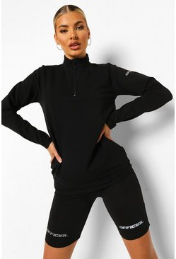 Black Reflective Half Zip Active Top