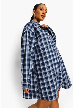 Check Oversized Shirt Dress, Navy marineblau
