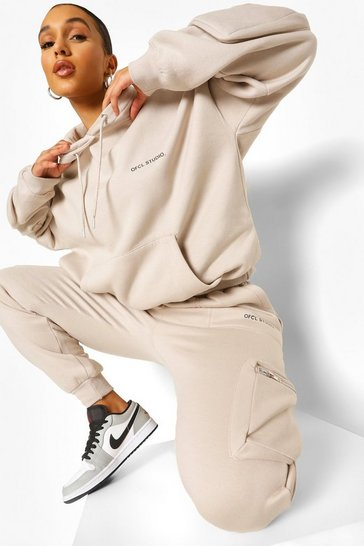 Stone beige 3d Cargo Pocket Hooded Tracksuit