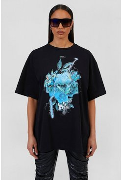 Black Oversized Butterfly Graphic Print T-shirt