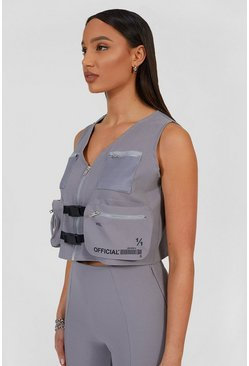 Light grey grey Utility Vest With Detachable Bag