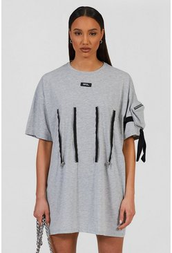 Oversized Utility T-shirt Dress With Zip Detail , Grey marl gris