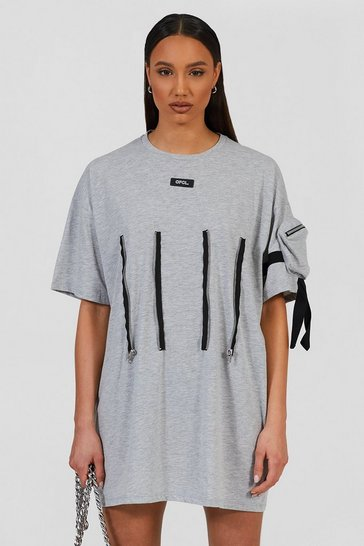 Grey marl grey Oversized Utility T-shirt Dress With Zip Detail