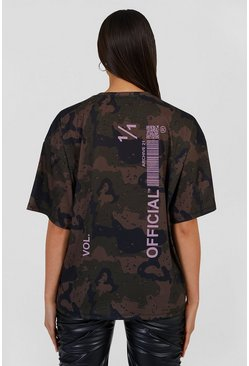 Black Oversized Camo Official Back Print T-shirt