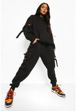 Black Official Utility Tracksuit With Buckles
