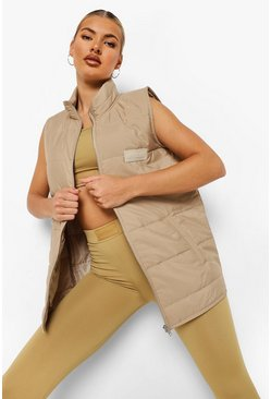 Biscuit beige Woman Rubber Tab Active Gilet