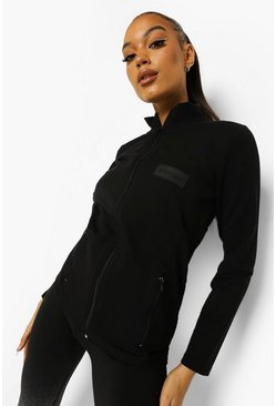 Woman Rubber Tab Active Jacket, Black schwarz