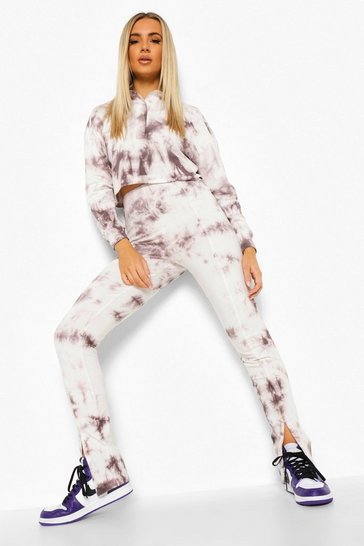 Grey Tie Dye Polo & Split Hem Legging Co-ord