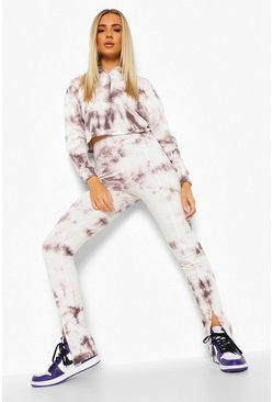 Grijs grey Tie Dye Polo En Leggings Met Split Set