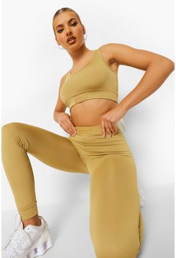 Biscuit beige Woman Rubber Tab Active Leggings