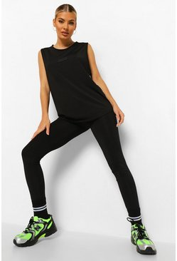 Black Woman Rubber Tab Active Leggings