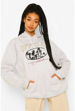 Pale grey Official Palm Tree Printed Oversized  Hoody