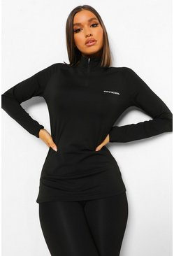 Black Active Raglan Funnel Neck Top
