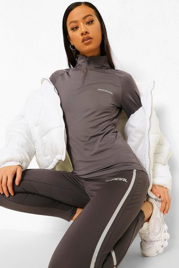 Grey Active Raglan Funnel Neck Top