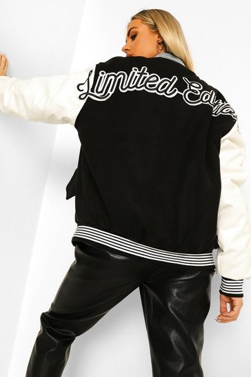Black Limited Edition Varsity Bomber Jacket