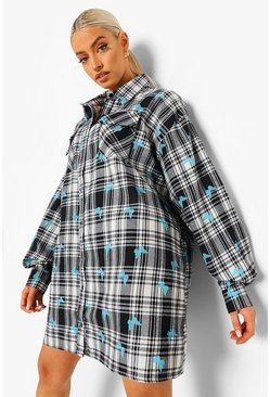 White Butterfly Check Oversized Shirt Dress