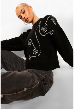 Black Half Face Sketch Knitted Cardigan