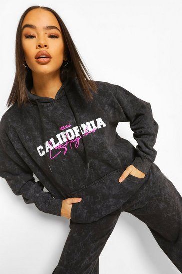 Charcoal grey Oversized Acid Wash Neon Slogan Hoodies